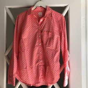 Gap Button Down Blouse W/Pink Elephants, M